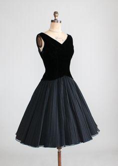1950s Joan Barrie Black Party Dress