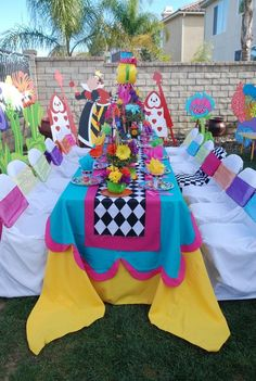 Too bold.but must remember the diamond checkerboard - Alice in Wonderland / Mad Hatter theme party table exclusively designed and decorated by : WONDERLAND PARTY PROPS Contact for prop rental and decorating services : ( 661 ) Alice In Wonderland Tea Party Birthday, Alice Tea Party, Alice In Wonderland Costume, Alice In Wonderland Food, Mad Tea Parties, Mad Hatter Party, Mad Hatter Tea, Mad Hatter Birthday Party, Birthday Party Decorations