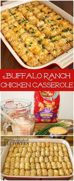 Buffalo Ranch Chicken Casserole Recipe - Enjoy Buffalo Ranch dip? Try this easy casserole recipe using Tater Tots, Chicken, Hot Sauce and Ranch Dressing.