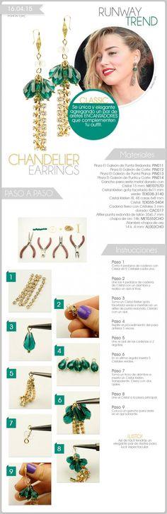 DIY Jewelry : How to make chandelier earrings Beading Jewelry Tutorials Earring Tutorial, Bracelet Tutorial, Beaded Jewelry, Handmade Jewelry, Bead Earrings, Chandelier Earrings, Beading Techniques, How To Make Necklaces, Bijoux Diy