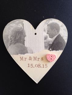A personal favourite from my Etsy shop https://www.etsy.com/uk/listing/276295274/mr-and-mrs-heart-shaped-plaque