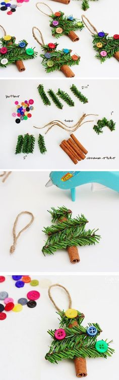 Cinnamon Stick Trees | Click Pic for 23 DIY Christmas Ornaments for Kids to Make | DIY Christmas Crafts for Kids to Make by amalia