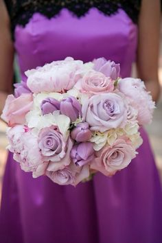 Perfect posy of roses, tulips and peonies in white, pale pink, and lilac shades. ~ https://www.insideweddings.com/weddings/pastel-pink-purple-celebration-at-the-resort-at-pelican-hill/591/