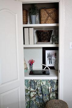 37 Organizing Projects - I love Turn a Closet into an Organized Office Nook idea by Twenty Three Oh One Home Organization, Closet Office, Office Under Stairs, Office Nook, Interior, Home Diy, Office Organization, Home Decor, Tiny Office