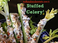 Stuffed Celery Recipe: Cream Cheese, Green Olives, and Walnuts.
