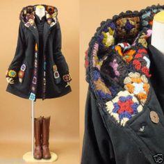 Oh! Korean Japanese Fashion Flower Pattern Handmade Knit Hood Coat (Crochet reason number dy-no-mite! Crochet Coat, Crochet Clothes, Crochet Granny, Crochet Squares, Japanese Fashion, Korean Fashion, Mode Crochet, Cycling Outfit, Flower Fashion