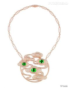 endentif Mogaoku Tien en or rose, diamants et émeraudes de Qeelin.