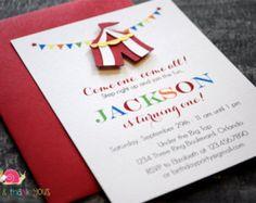 Carpa de circo invitaciones · A2 PLANO · Bajo la carpa circense | Primera fiesta de cumpleaños | Carnaval bebé ducha invitación | Invita a fiesta de carnaval