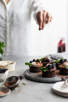 Flourless Chocolate Blackberry Tortes