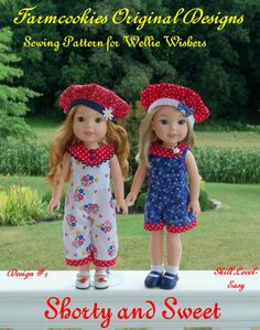 """PDF Sewing Pattern: SHORTY and SWEET/ Sewing Pattern for 14"""" American Girl  Wellie Wishers (R)"""
