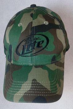 Miller Lite beer Official camouflage hunting cap hat velcro strap baseball 5b2954378c25