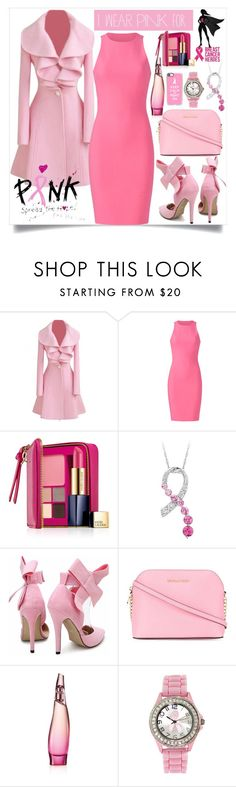 """""""breast cancer heroes"""" by teto000 ❤ liked on Polyvore featuring Elizabeth and James, Estée Lauder, MICHAEL Michael Kors, Donna Karan, Casetify and IWearPinkFor"""
