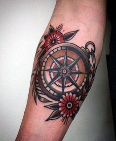 50 small compass tattoos for men - design ideas for navigation inks - . - 50 small compass tattoos for men – design ideas for navigation inks – cool small compass-old sc - Traditional Compass Tattoo, Traditional Tattoo Man, Traditional Design, Traditional Nautical Tattoo, Elbow Tattoos, Arm Tattoo, Sleeve Tattoos, Wheel Tattoo, Small Compass Tattoo