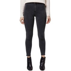 Petite Topshop Moto 'Joni' High Rise Skinny Crop Jeans ($68) ❤ liked on Polyvore featuring jeans, grey, petite, skinny jeans, gray jeans, petite jeans, super high waisted skinny jeans and denim skinny jeans