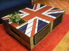 Now you can craft your own table. Take some pallets cut them in different dimensions accordingly then join them with the help of nails, glue and hammer. To show your love toward your country draw country's flag as we did. The wheels under coffee table helps it to move easily.