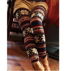 Noël Leggings Femme Flocon Neige Motif Snowflakes Hiver Collants Pantalon Xmas | eBay