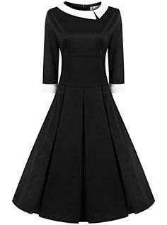 REORIA Women's Classy Vintage 1950s Style Quarter Sleeve A-line Cocktail Party Dress Black 3XL ReoRia