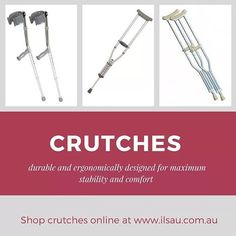 At Independent Living Specialists you will find underarm and forearm crutches to suit different requirements and body weights ranging from 100kgs to above 200kgs. Manufactured by #Ausmedic and #CareQuip, our #crutches are lightweight, durable and ergonomically designed for maximum stability and comfort.    For a special rates visit our website   http://ilsau.com.au/department/crutches/  #IndependentLivingSpecialists #ILS #MoblitySolutions #MobilitySolutionsAustralia