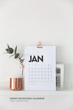 calendario minimalista, sobrio y sencillo en blanco y negro anual imprimible diy 2017