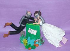 Scuba Diving Wedding Cake Topper Scuba Diving Personalised Clay Cake Topper