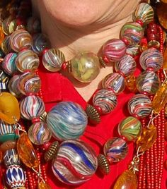 A close up of the necklace worn by Sindi Schloss ( GIA Gemologist in Arizona and a Bead Museum Board member) featuring an amazing collection of antique German Marble Beads.