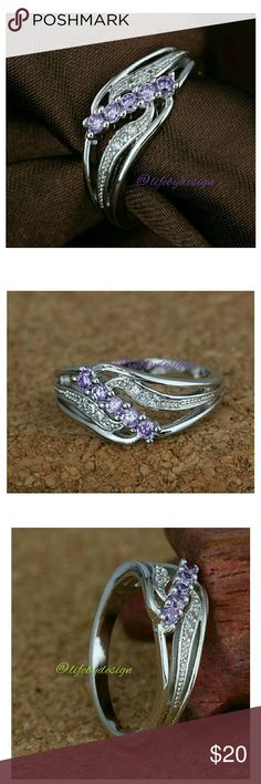 Purple Crystal & Cubic Zirconia set in .925 Silver Women  .925 Silver Plated Ring Cubic Zirconia & Purple  Crystals Life by Design  Jewelry Rings