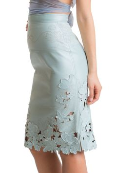 Laser Cut and Embrodeiry Skirt - Mint Leather.A stunning exclusive flower design has been laser cut on premium quality lambskin and finished with embroidery applications sewn in leather.  Simply one of a kind; supple and buttery soft with a flattering pencil cut design.