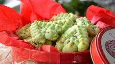 These are my hubbys favorite Christmas cookies. His Great Aunt Gin used to make them for him every year and it just isnt Christmas without them. She always made green Christmas Trees and pink Wreaths because those were her two favorite colors. Since they use all shortening they are a very crisp cookie. The recipe is originally from the cookbook that came with the Mirro cookie press. (If you prefer a butter cookie, I recommend Recipe #98883)