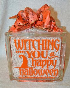 Witching You a Happy Halloween Glass Block
