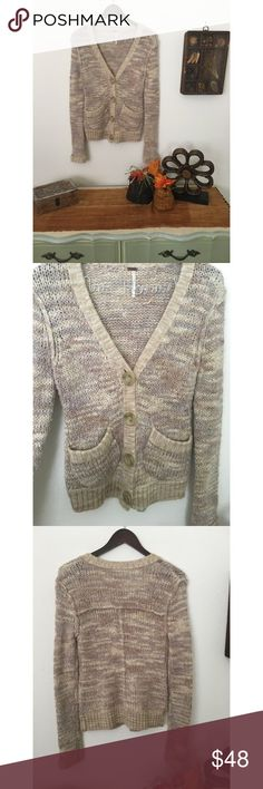 Free People Creamy Knit Cardigan Creamy neutrals knit together I'm comfortable fashion. Four buttons  play well with front pockets for a fun take on an everyday sweater.   Mandy Mae's Closet  For the girl on the go ✌🏽️   By: Free People  Size: XS Dimensions: B: 17 L: 25  Fiber content: Acrylic, Wool, Poly, Nylon, Alpaca blend. For the girl who likes to mix things up. EUC   Please feel free to use the offer button, and I will do what I can to help a girl out! 👌🏽 Free People Sweaters