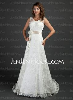 Wedding Dresses - $226.99 - A-Line/Princess V-neck Court Train Satin Lace Wedding Dress With Sashes Flower