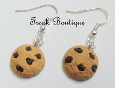 Handmade Chocolate Chip Cookie Earrings (Polymer Clay, Hook, Rainbow, Food, Sweets, Treats, Biscuits, Freak Boutique)