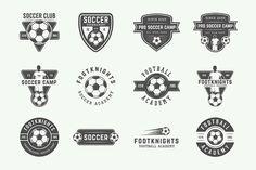 Set of vintage 24 soccer emblems. - Logos
