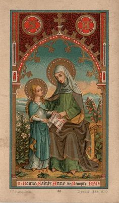 Antique holy card: O Bonne Sainte Anne de Beaupré, P.P.N. (priez pour nous) -- O Good Saint Anne of Beaupré (the Bowsprit, the sailors), pray for us!