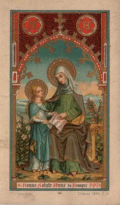 Antique holy card: O Bonne Sainte Anne de Beaupré, P.P.N. (priez pour nous) -- O Good Saint Anne of Beaupré (the Bowsprit, the sailors), pray for us!