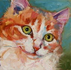 Olga Wagner Paints: FACES OF RESCUE 100 CATS: Biscuit 31/100...8x8 Oil on Panel