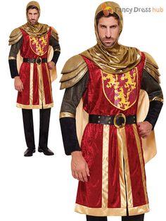 Adultos-Rojo-Crusader-Disfraz-Para-Hombre-Medieval-Caballero-Disfraces-Rey-Arturo-Outfit