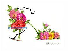 Mexicali Mexique fleur Rose chaussure Print 2011 - renforcée avec de la peinture aquarelle & signé Brownlee - chaussure Wall Art