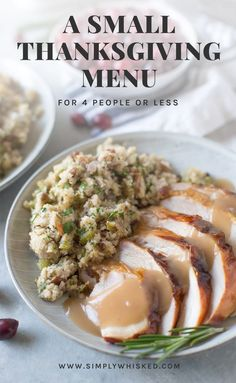 A Small Thanksgiving Menu: for 4 people or less - Thanksgiving Dinner Thanksgiving Menu Planner, Thanksgiving Dinner For Two, Traditional Thanksgiving Dinner, Thanksgiving Dinner Recipes, Thanksgiving Side Dishes, Thanksgiving Turkey, Fall Dinner, Planning Menu, Party