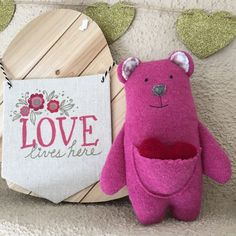 Lena is a one of a kind plush bear made from upcycled wool. #valentinesday #upcycle #repurpose #ecofriendly #ecotoys #valentinesdaygift #bear #plush