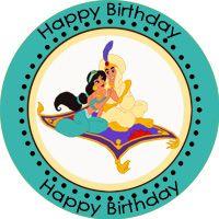 Aladin Princess Jasmine Birthday Personalized Stickers
