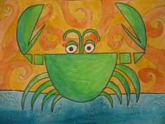 Ed Emberley's Drawing Book of Animals-joeys crab-paint the paper then cut out the pieces to form the crab