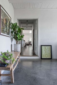 Home Tour: A Swedish Stone House Gets a Modern Makeover Concrete Bench, Concrete Furniture, Design Furniture, Concrete Floors, Decoration Chic, Lake Cabins, Exposed Wood, Polished Concrete, Wood Ceilings