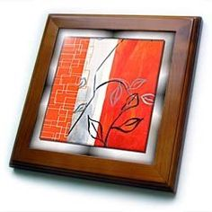 """Abstract Leaf Art - 8x8 Framed Tile by 3dRose. $22.99. Cherry Finish. Keyhole in the back of frame allows for easy hanging.. Solid wood frame. Inset high gloss 6"""" x 6"""" ceramic tile.. Dimensions: 8"""" H x 8"""" W x 1/2"""" D. Abstract Leaf Art Framed Tile is 8"""" x 8"""" with a 6"""" x 6"""" high gloss inset ceramic tile, surrounded by a solid wood frame with pre-drilled keyhole for easy wall mounting."""