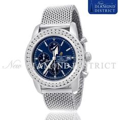 5.50ct Diamond Breitling Superocean Heritage Chronograph Blue Dial A1332024/C817 #Breitling