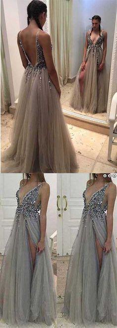 Backless Rhinestone tulle Deep V-neck Sexy prom dress online, Long Split Prom Dress
