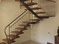 floating wood stairs with metal railing. for deck Metal Railings, Wood Stairs, Lofts, Staircases, Fence, Cottage, Architecture, Building, Interior