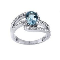 Amazon.com: Oval Shape 1.10 ct. Aquamarine and Dimaond Ring in 18K White Gold: Jewelry