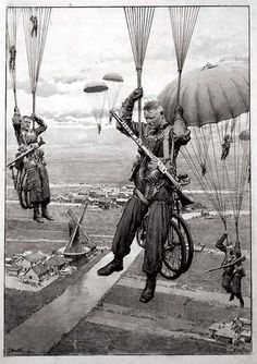 Inch Print - High quality print (other products available) - Germany& Newest Weapon - The Parachute Troops. The New Method of Warfare in the Attack on the Low Countries. Date: 1940 - Image supplied by Mary Evans Prints Online - Photo Print made in the USA Luftwaffe, Paratrooper, Military Photos, Military Art, Military History, German Army, Panzer, Historical Photos, Warfare
