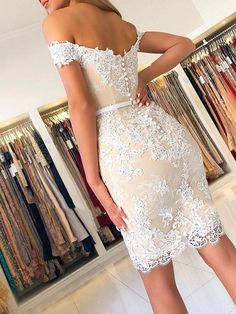 Elegant Short Off-the-Shoulder Formal Evening Gowns with Lace Appliques Mother of The Bride Dresses 601862 Silver Formal Dresses, Lace Dress Styles, Best Wedding Dresses, Bride Dresses, Lace Wedding, Custom Dresses, Homecoming Dresses, Graduation Dresses, Dress Making